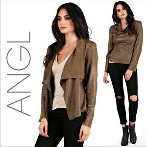 Angl Karina Faux Suede Sweater Jacket